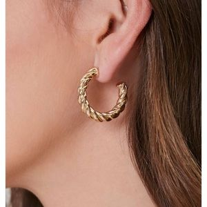 Forever 21 gold twisted hoop earrings